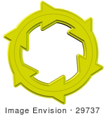 #29737 Clip Art Graphic Of Yellow Arrows Moving In A Clockwise Motion Symbolizing Solar Energy