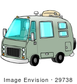 #29738 Clip Art Graphic Of An Old Green Camper Van