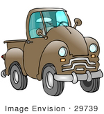 #29739 Clip Art Graphic Of A Brown Pickup Truck