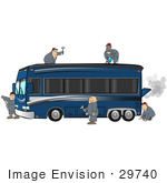 #29740 Clip Art Graphic Of A Team Of Mechanics Working To Construct And Fix A Fancy Motorhome
