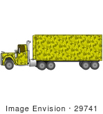 #29741 Clip Art Graphic Of A Yellow Camouflage Big Rig