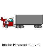 #29742 Clip Art Graphic Of A Mechanic Working On A Big Rig'S Engine