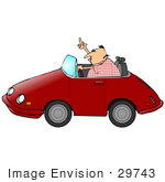#29743 Clip Art Graphic Of A Man Driving A Convertible Car Flipping Someone Off In A Fit Of Road Rage by DJArt