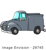 #29745 Clip Art Graphic Of A Blue Work Truck With Storage Compartments