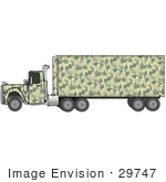 #29747 Clip Art Graphic Of A Green Camouflage Diesel Truck