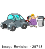 #29748 Clip Art Graphic of a Lady at a Gas Station, Filling Her Car's Gasoline Tank by DJArt