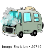 #29749 Clip Art Graphic Of A Smoking Green Camper Van