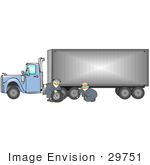 #29751 Clip Art Graphic of Men Fixing a Flat Tire on a Big Rig by DJArt