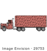 #29753 Clip Art Graphic Of A Pink Camouflage Semi Truck