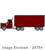 #29754 Clip Art Graphic Of A Red Camouflage Semi Truck