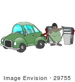 #29755 Clip Art Graphic Of A Woman Filling Her Gasoline Tank At A Gas Station