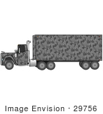 #29756 Clip Art Graphic of a Gray Camo Big Rig Truck by DJArt