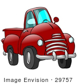 #29757 Clip Art Graphic Of A Red Pickup Truck With A Chrome Bumper