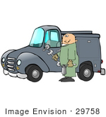 #29758 Clip Art Graphic Of A Technician Holding Tools And Standing By A Work Truck