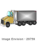 #29759 Clip Art Graphic Of A Clean Yellow Semi Transfer Truck