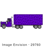 #29760 Clip Art Graphic Of A Purple Camouflage Transfer Truck