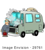 #29761 Clip Art Graphic Of A Puzzled Mechanic Working On A Smoking Green Motor Home