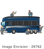 #29762 Clip Art Graphic Of Men Fixing Body Damage On A Luxury Motor Home