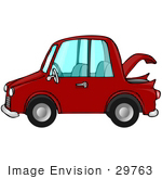 #29763 Clip Art Graphic Of A Red Compact Car With The Trunk Open