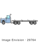 #29764 Clip Art Graphic Of A Blue Semi Truck Pulling A Flatbed Trailer