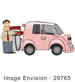 #29765 Clip Art Graphic Of A Stressed Man Filling The Gasoline Tank Of His Gas Hog Car That Looks Like A Pig