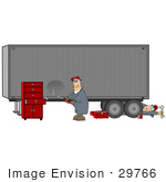 #29766 Clip Art Graphic Of A Mechanic And Body Repair Man Fixing A Big Rig Cargo Trailer