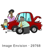 #29768 Clip Art Graphic Of A Nice Man Stopping To Help A Clueless Woman And Her Son Change The Flat Tire On Their Car