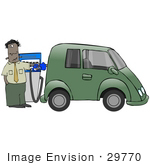 #29770 Clip Art Graphic Of A Stressed Man Going Broke While Filling The Gasoline Tank Of His Green Car At A Gas Station