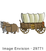 #29771 Clip Art Graphic of an Old Fashioned Covered Wagon Being Pulled By Two Fat Horses by DJArt