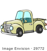 #29772 Clip Art Graphic of an Old Fashioned Yellow Pickup Truck With a Short Bed by DJArt