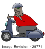 #29774 Clip Art Graphic Of A Man Passing By On A Blue Scooter And Flipping The Viewer Off In A Fit Of Road Rage