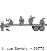 #29775 Clip Art Graphic of a Team of Men Repairing a Semi Trailer by DJArt