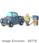 #29776 Clip Art Graphic Of A Frustrated Man Flipping Off The Smiley Face On A Pump At A Gas Station While Going Broke Over Filling The Gasoline Tank Of His Pickup Truck