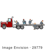 #29779 Clip Art Graphic of a Team of Men Performing Maintenance on the Trailer of a Big Rig by DJArt