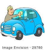 #29780 Clip Art Graphic Of Gas Station Attendant Cleaning The Windshield Of A Blue Compact Car
