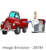 #29781 Clip Art Graphic Of A Gas Station Attendant Fueling A Red Truck