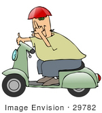 #29782 Clip Art Graphic Of A Man Passing By On A Green Scooter And Flipping The Viewer Off In A Fit Of Road Rage