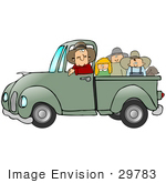 #29783 Clip Art Graphic Of A Group Of Happy People And Their Dog Riding In The Back Of A Green Pickup Truck While The Driver Looks At The Viewer