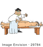 #29784 Clip Art Graphic Chinese Acupuncturist Inserting Needles Into A Nude Man'S Back During Therapy