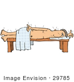 #29785 Clip Art Graphic Of A Nude Male Acupuncture Patient Poked With Needles Lying On His Side