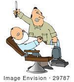#29787 Clip Art Graphic of a Friendly Barber Preparing To Shave A Relaxed Man Who Is Reclined In A Chair With Shaving Cream All Over His Face by DJArt