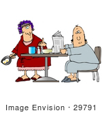 #29791 Clip Art Graphic Of A Shocked Husband Holding A Newspaper And Eating Breakfast As His Mad Wife Cooks Eggs And Flips Him Off by DJArt