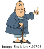 #29793 Clip Art Graphic Of A Mean Old Man In A Robe Using A Cane And Flipping People The Bird