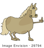 #29794 Clip Art Graphic Of A Fed Up Horse Flipping People The Bird And Refusing To Be Ridden