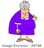 #29796 Clip Art Graphic Of A Mean Old Granny Flipping The Bird