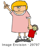 #29797 Clip Art Graphic Of An Obnoxious Little Girl Holding Her Doll And Flipping The Bird
