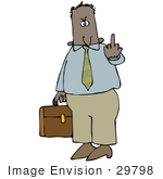#29798 Clip Art Graphic Of A Mad Businessman Carrying His Briefcase And Holding Up His Middle Finger by DJArt