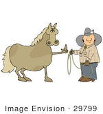 #29799 Clip Art Graphic Of A Fed Up Horse Flipping Off A Cowboy