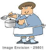 #29801 Clip Art Graphic Of A Caucasian Lady Holding A Spoon And Pot While Cooking Soup For Supper In A Kitchen