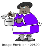 #29802 Clip Art Graphic Of An African American Lady Holding A Spoon And Pot While Cooking Soup For Supper In A Kitchen